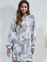 cheap -Women's Tee Dress Crew Neck Sport Athleisure Dress Long Sleeve Breathable Soft Comfortable Everyday Use Street Casual Daily Outdoor / Winter