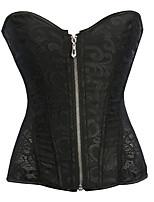 cheap -Women's Halloween Corset Plain Drawstring Zipper Lace Strapless Vintage Sexy Punk & Gothic Tops White Black