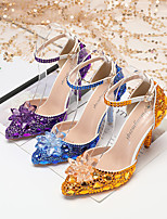 cheap -Women's Heels Wedding Shoes Stiletto Heel Pointed Toe Wedding Sandals Party Wedding PU Rhinestone Crystal Sparkling Glitter Solid Colored Color Block Fuchsia Blue Pink