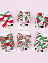 cheap -6 pcs/set Children's Christmas Bowknot Hairpin Thread with Christmas Elements Side Clip