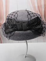 cheap -Women's Party Hat Party Wedding Street Mesh Bow Pure Color Wine Black Hat / Orange / Gray / Fall / Winter