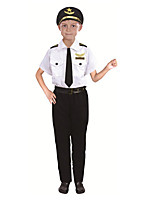 cheap -Police Cosplay Costume Kid's Boys' Halloween Halloween Halloween Festival / Holiday Polyster White Easy Carnival Costumes Solid Color / Hat / Tie / Waist Belt