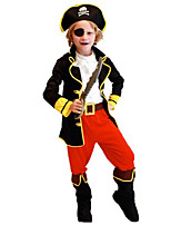 cheap -Pirates of the Caribbean Cosplay Costume Kid's Boys' Halloween Halloween Halloween Festival / Holiday Polyster Red+Black Easy Carnival Costumes Solid Color / Vest / Hat / Waist Belt / Eye Mask