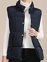 cheap -Women's Gilet Daily Outdoor Fall Winter Regular Coat Loose Thermal Warm Multi layer Casual Cute Jacket Sleeveless Solid Color Quilted Wine Dusty Blue Black