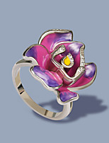 cheap -Women Ring AAA Cubic Zirconia Fancy Light Purple Brass Floral Theme Mouse Flower Shape Artistic Elegant Fashion 1pc / Women's