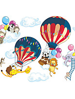 cheap -Animals Cartoon Hot Air Balloon Wall Stickers Living Room Kids Room & kindergarten Removable Pre-pasted PVC Home Decoration Wall Decal 2pcs