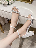 cheap -Women's Wedding Shoes Sandals Chunky Heel Open Toe Wedding Office Satin Solid Colored White