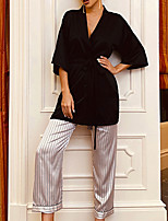 cheap -Women's Robes Gown Pajamas Sets Home Party Bed Basic Stripes Pure Color Satin Simple Soft Sweet Pant Fall Winter Spring V Wire Long Sleeve Lace Up Belt Included