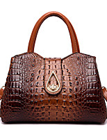 cheap -Women's Bags PU Leather Crossbody Bag Top Handle Bag Buttons Zipper Solid Color Crocodile Vintage Daily Outdoor Retro Leather Bag Handbags Gray Black Red Brown