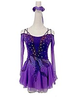 cheap -Figure Skating Dress Women's Girls' Ice Skating Dress Violet Open Back Patchwork Spandex High Elasticity Training Competition Skating Wear Patchwork Crystal / Rhinestone Long Sleeve Ice Skating