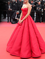 cheap -Ball Gown Celebrity Style Elegant Engagement Formal Evening Dress Strapless Sleeveless Floor Length Satin with Pleats 2021