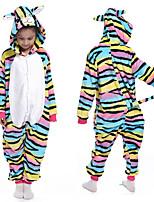 cheap -Kid's Kigurumi Pajamas Nightwear Rainbow Onesie Pajamas Flannelette Yellow+Blue Cosplay For Boys and Girls Animal Sleepwear Cartoon Festival / Holiday Costumes