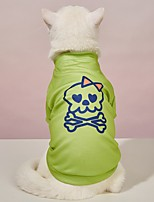 cheap -Dog Cat Halloween Costumes T-shirts Skull Party Cosplay Halloween Casual / Daily Dog Clothes Puppy Clothes Dog Outfits Breathable Light Green Costume for Girl and Boy Dog Polyster S M L