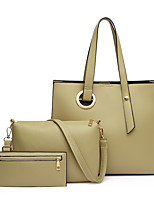cheap -Women's Bags PU Leather Tote Bag Set Top Handle Bag 3 Pcs Purse Set Zipper Solid Color Shopping Daily Bag Sets Blushing Pink Gray Green Black