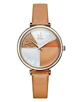 cheap -Shengke Watch Women Shell Dial leather Ladies Watch Japanese Quartz Movement Ultra Slim Buckle Strap Reloj Mujer Montre Femme