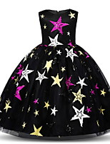 cheap -Kids Little Girls' Dress Galaxy Tulle Dress Party Performance Embroidered White Black Maxi Sleeveless Princess Cute Dresses Summer Regular Fit 2-8 Years