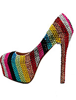 cheap -Women's Heels Wedding Shoes Platform Round Toe Wedding Pumps Party Wedding PU Rhinestone Crystal Sparkling Glitter Striped Color Block Rainbow