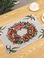 cheap -Christmas Table Mats Merry Christmas Placemat Ornament Heatproof Cloth Kitchen Decor for Home Xmas Santa Claus Hat Cutlery Set