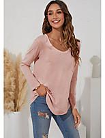 cheap -Women's T shirt Plain Long Sleeve Pocket Round Neck Basic Tops Regular Fit Blushing Pink Gray White