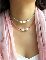 cheap -Beaded Necklace Women's Beads Star Fashion Holiday Casual / Sporty Cute Boho Light Green Rose Red 40 cm Necklace Jewelry 1pc for Street Gift Daily Holiday Festival Geometric
