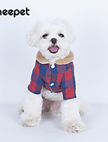 cheap -fun pet lamb fur collar plaid cotton clothes autumn and winter models cute warm clothes for dogs teddy clothes in stock
