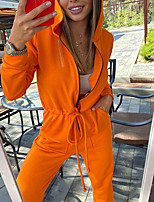 cheap -Women's Bodysuit Hoodie Spandex Solid Color Sport Athleisure Bodysuit Long Sleeve Breathable Soft Comfortable Everyday Use Street Casual Daily Outdoor / Winter