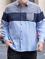 cheap -Men's Shirt Patchwork Plus Size Formal Style Classic Long Sleeve Business Tops Sports & Outdoors Ordinary Modern Style Blue