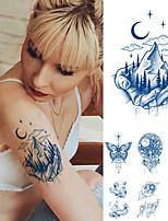 cheap -2 Pcs Juice Lasting Ink Tattoos Body Art Waterproof Temporary Tattoo Sticker Mountain Forest Tatoo Arm Fake Sky Whale Sea Tattoo Women