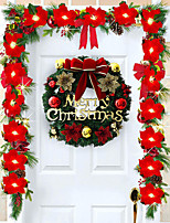 cheap -Christmas Wreath With Bow Christmas Decoration Door Hanging Rattan Ornament Garland Xmas Decorations for Home