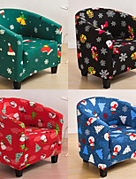 cheap -Elastic Tub Sofa Armchair Seat Cover Christmas Printed Sofa Cover Armchair Cover Protector Bathtub Chair Covers Furniture Slipcover
