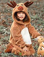 cheap -Kid's Kigurumi Pajamas Nightwear Reindeer Rudolph Onesie Pajamas Flannelette Khaki Cosplay For Boys and Girls Animal Sleepwear Cartoon Festival / Holiday Costumes