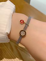 cheap -Women's Bracelet Geometrical Letter Korean S925 Sterling Silver Bracelet Jewelry Black / Red For Wedding
