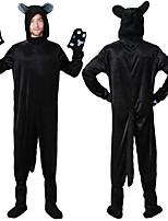 cheap -Adults' Kigurumi Pajamas Nightwear Cat Onesie Pajamas polyester fibre Black Cosplay For Men and Women Animal Sleepwear Cartoon Festival / Holiday Costumes