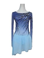 cheap -Figure Skating Dress Women's Girls' Ice Skating Dress Violet Open Back Spandex High Elasticity Training Competition Skating Wear Crystal / Rhinestone Long Sleeve Ice Skating Figure Skating