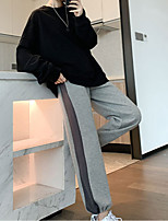 cheap -Women's Casual / Sporty Chino Comfort Sweatpants Leisure Sports Weekend Pants Color Block Full Length Pocket Leg Drawstring Elastic Drawstring Design Gray White