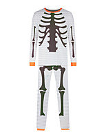 cheap -Women's Pajamas Sets Home Halloween Daily Bed Print Skeleton Animal Polyster Simple Funny Soft Sweet T shirt Pant Fall Winter Crew Neck Long Sleeve Long Pant