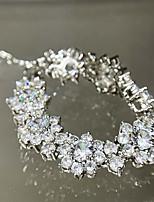 cheap -Women's Clear Bracelet Geometrical Flower Korean Copper Bracelet Jewelry Silver For Wedding