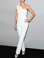 cheap -Jumpsuits Celebrity Style Elegant Engagement Formal Evening Dress One Shoulder Sleeveless Ankle Length Stretch Fabric with Sleek 2021
