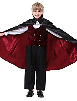 cheap -Prince Vampire Cosplay Costume Kid's Boys' Halloween Halloween Halloween Carnival Festival / Holiday Terylene Black Easy Carnival Costumes Solid Color / Vest / Blouse / Pants / Gloves / Cloak