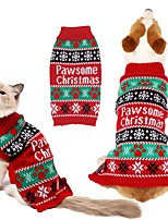 cheap -Dog Cat Sweater Christmas Cat Retro Vintage Christmas Winter Dog Clothes Puppy Clothes Dog Outfits Warm Red Costume for Girl and Boy Dog Knitting XS S M L XL