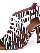 cheap -Women's Latin Shoes Professional Heel Leopard Pattern / Print Slim High Heel Open Toe Leopard Black / White Black Lace-up Adults' Striped / Performance / Satin