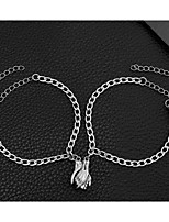 cheap -2pcs Men's Women's Chain Bracelet Classic Blessed Stylish Simple Sweet Steel Bracelet Jewelry Silver For Street Gift Daily Promise