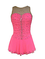 cheap -Figure Skating Dress Women's Girls' Ice Skating Dress Pink Green Spandex High Elasticity Training Competition Skating Wear Crystal / Rhinestone Sleeveless Ice Skating Figure Skating