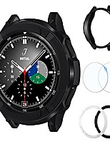 cheap -3 in 1 accessories for samsung galaxy watch 4 classic 42mm, 1 tpu armor case cover + 2 tempered glass screen protector + 2 contrast color bezel ring for galaxy watch4 42mm (black+white, 42mm)