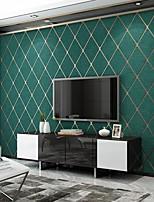 cheap -Wallpaper Wall Covering Sticker Film Embossed Stripe Diamond Super Thick Deerskin Velvet Non Woven Home Decor 53*950CM