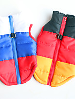 cheap -Dog Puffer / Down Jacket Stripes Classic Style Candy Colors Christmas Festival Winter Dog Clothes Puppy Clothes Dog Outfits Warm Blue and White Black / Red Costume for Girl and Boy Dog Polyester
