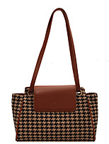 cheap -Women's Bags PU Leather Tote Top Handle Bag Zipper Plain Geometric Daily Outdoor Retro Leather Bag Tote Black Brown Coffee