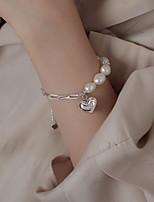 cheap -Women's Bead Bracelet Classic Heart Korean S925 Sterling Silver Bracelet Jewelry White For Wedding