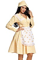 cheap -Uniforms Cosplay Costume Adults' Women's Halloween Halloween Festival Halloween Festival / Holiday Terylene Yellow Women's Easy Carnival Costumes Plaid / Check / Dress / Apron / Hat