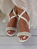cheap -Women's Wedding Shoes Sandals Chunky Heel Open Toe Wedding Office Faux Leather Rhinestone Imitation Pearl Solid Colored White